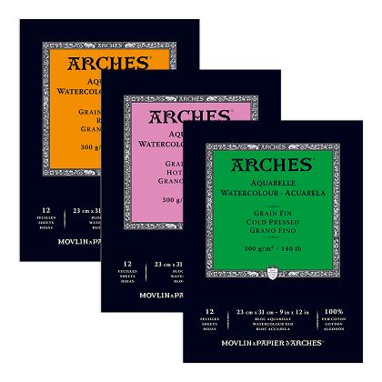 Arches aquarelblokken kops-gelijmd